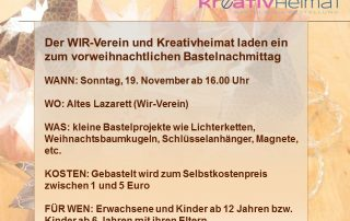 WiR – Wohnen in der Rummelsburger Bucht Nachbarschaftsverein – Bastelabend am 19.11.2017