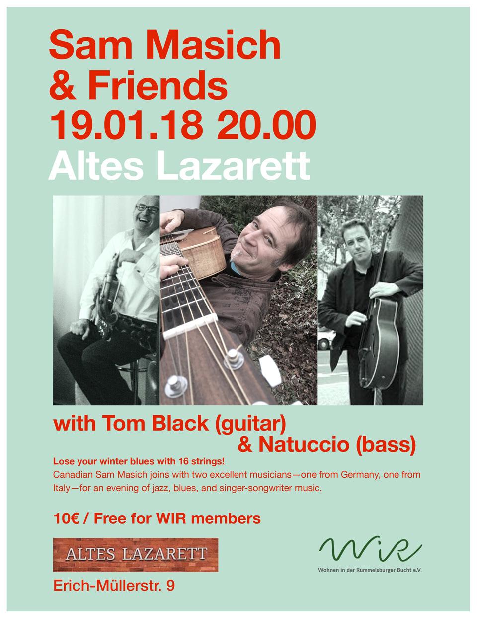 WiR – Wohnen in der Rummelsburger Bucht Nachbarschaftsverein – Konzert mit Sam Masich am 19. Januar 2018 im Alten Lazarett