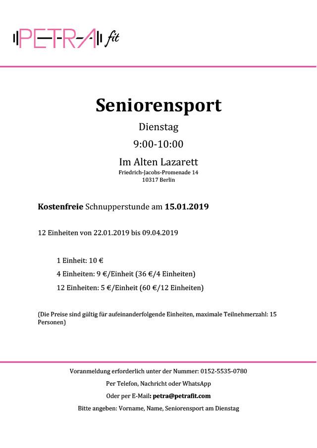 WiR – Wohnen in der Rummelsburger Bucht Nachbarschaftsverein – Seniorensport 2019