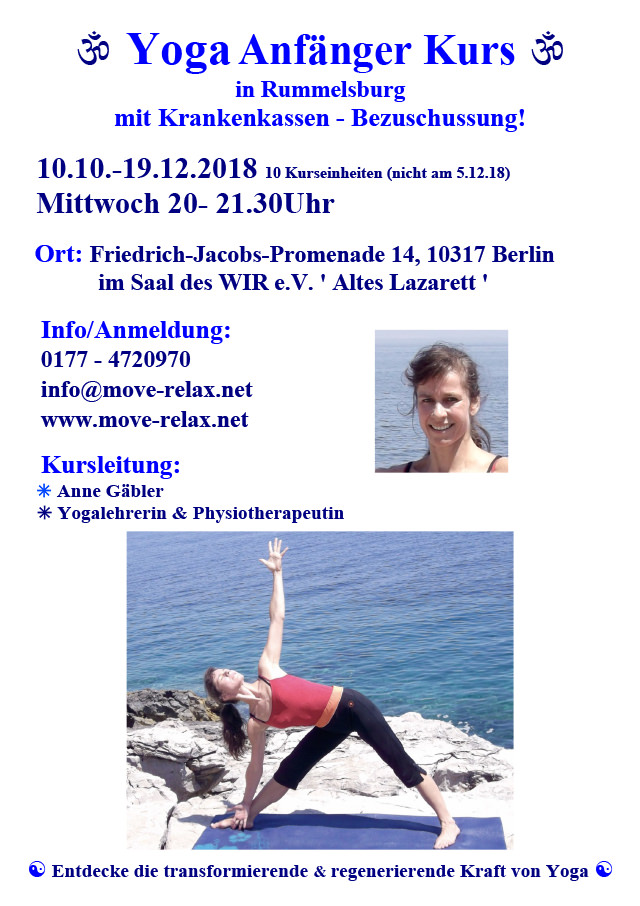 WiR – Wohnen in der Rummelsburger Bucht Nachbarschaftsverein – Yoga für Anfänger im Alten Lazarett in Rummelsburg