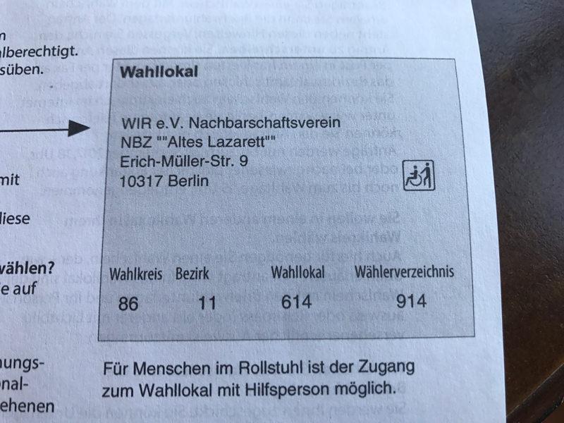 WiR – Wohnen in der Rummelsburger Bucht Nachbarschaftsverein – Bundestagswahl 2017